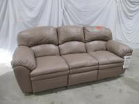 "Reclining sofa, Hutton Leather, Salvador mushroom color, 93""w x 37""d x 39""h"