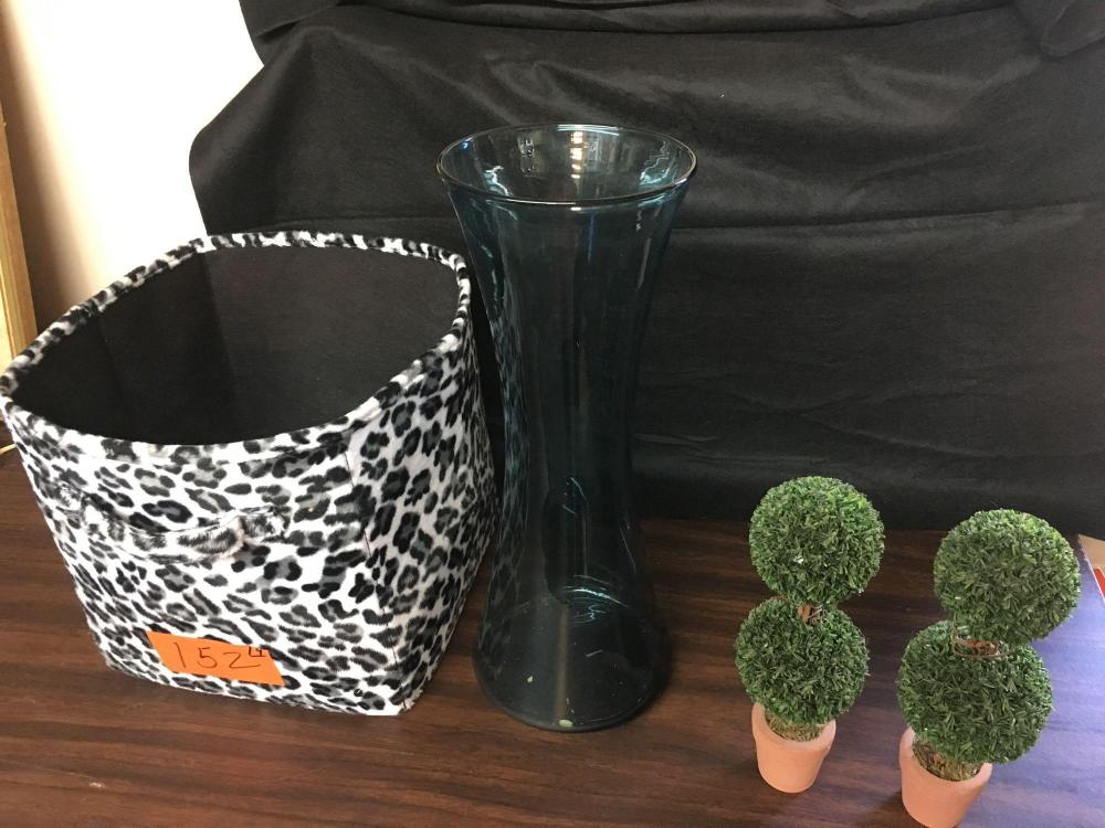 Lots Of Miscellaneous Items Including 17 Inch Blue Vase Leopard