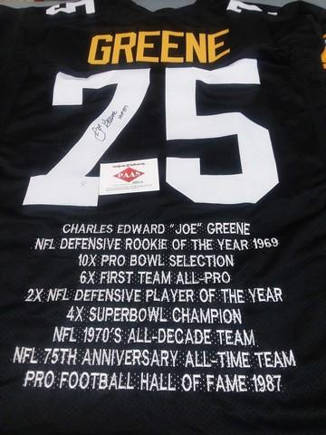 sports shoes dfdbd 64065 Mean Joe Greene signed stat jersey with authenticity