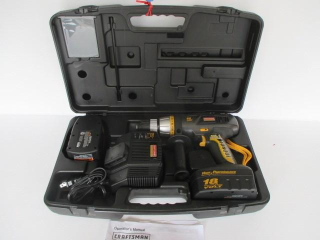 Lot 42 Of 404 Craftsman 1 2 In Professional Cordless Hammer Drill Model Number 315 269 2800 18 Volt Extra Battery And Charger Case
