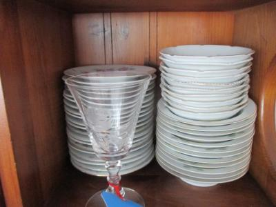 Lot of bowls and saucers from West Germany - one piece of cut rose stemware