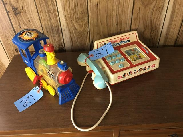"""aea98155a03366 Lot 27 of 101: Lot of 2: (1) Vintage, Mickey Mouse talking phone (8""""d x  12.5""""w) (1) Ideal wind up plastic engine"""