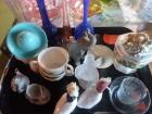 Lot of various items that includes Bud vases miniature teapot small compote from Japan Etc.