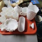 Large lot of various milk glass