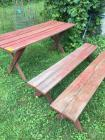 "Wooden picnic table and benches – table is 70"" x 26"""