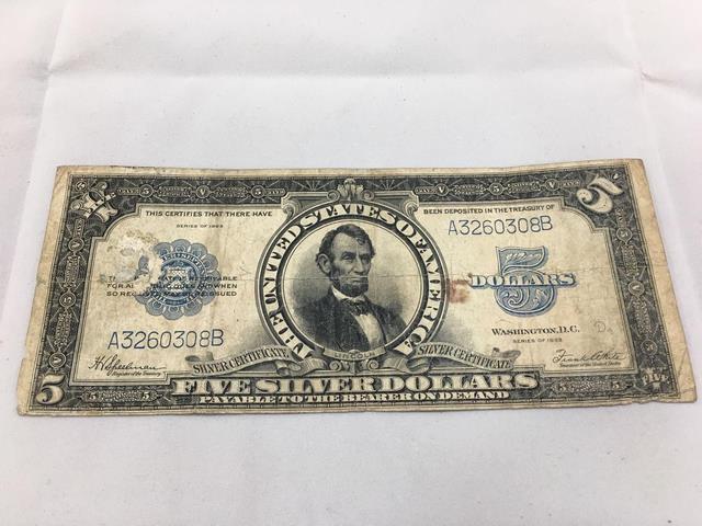 1923 Series - $5 five dollar bill- silver certificate - Serial ...