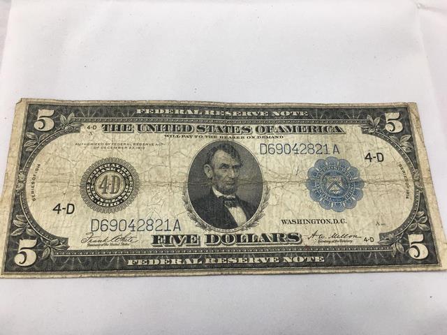 Lot  Series 1914 Us Currency 5 Dollar Bill 4 D Serial D69042821a Blue Seal