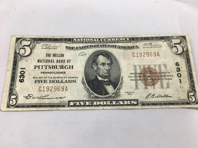 1929 Series, US Currency, Brown Seal - $5 dollar bill - 6301